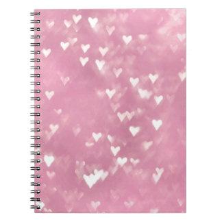 Cute Girly Pink Bokeh Heart Spiral Notebook