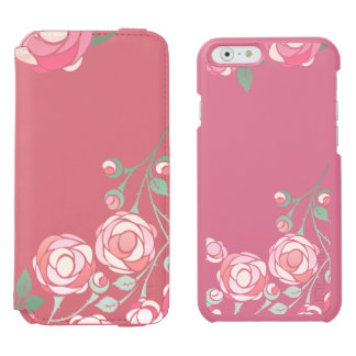 Cute Girly Pink Bold Floral iPhone 6/6s Wallet Case
