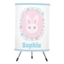 Cute Girly Pink Bunny Rabbit Floral Monogram Tripod Lamp