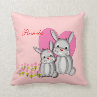 Cute Girly Pink Bunny Rabbits Personalized Name Pillows