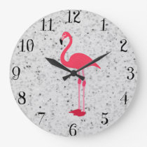 Cute Girly Pink Elegant Flamingo Large Clock