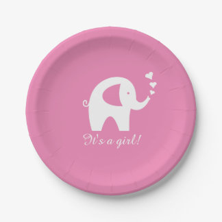 Cute girly pink elephant baby shower paper plates