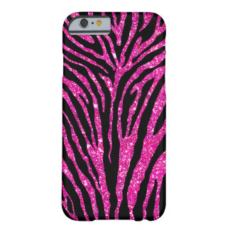 Cute Girly Pink Faux Glitter Black Zebra Pattern Barely There iPhone 6 Case