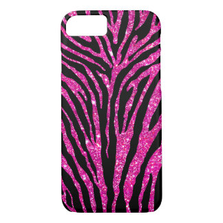 Cute Girly Pink Faux Glitter Black Zebra Pattern iPhone 7 Case
