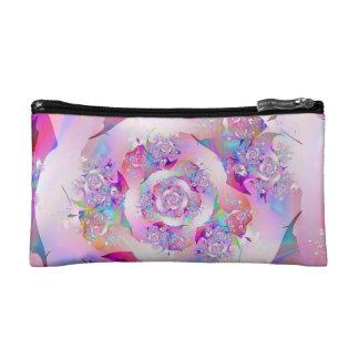 Cute Girly Pink Floral Vector Rose Makeup Bag