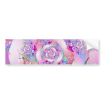 Cute Girly Pink Floral Vector Rose Bumper Sticker