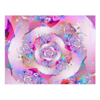 Cute Girly Pink Floral Vector Rose Postcard