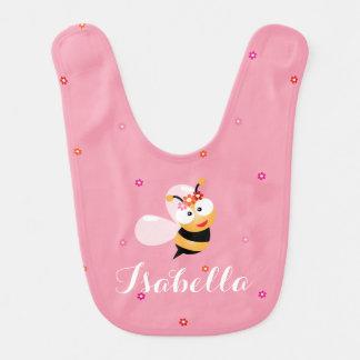 Cute Girly Pink Flower Baby Girl Honey Bee Cartoon Baby Bib