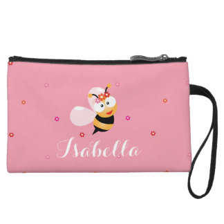 Cute Girly Pink Flower Girl Bumble Bee Cartoon Wristlet