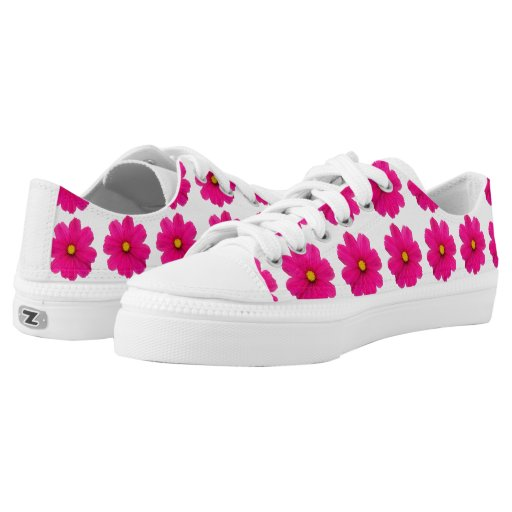 cute girly pink flower pattern shoes printed shoes