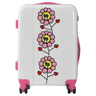 Cute Girly Pink Flowers Design White Pink Suitcase