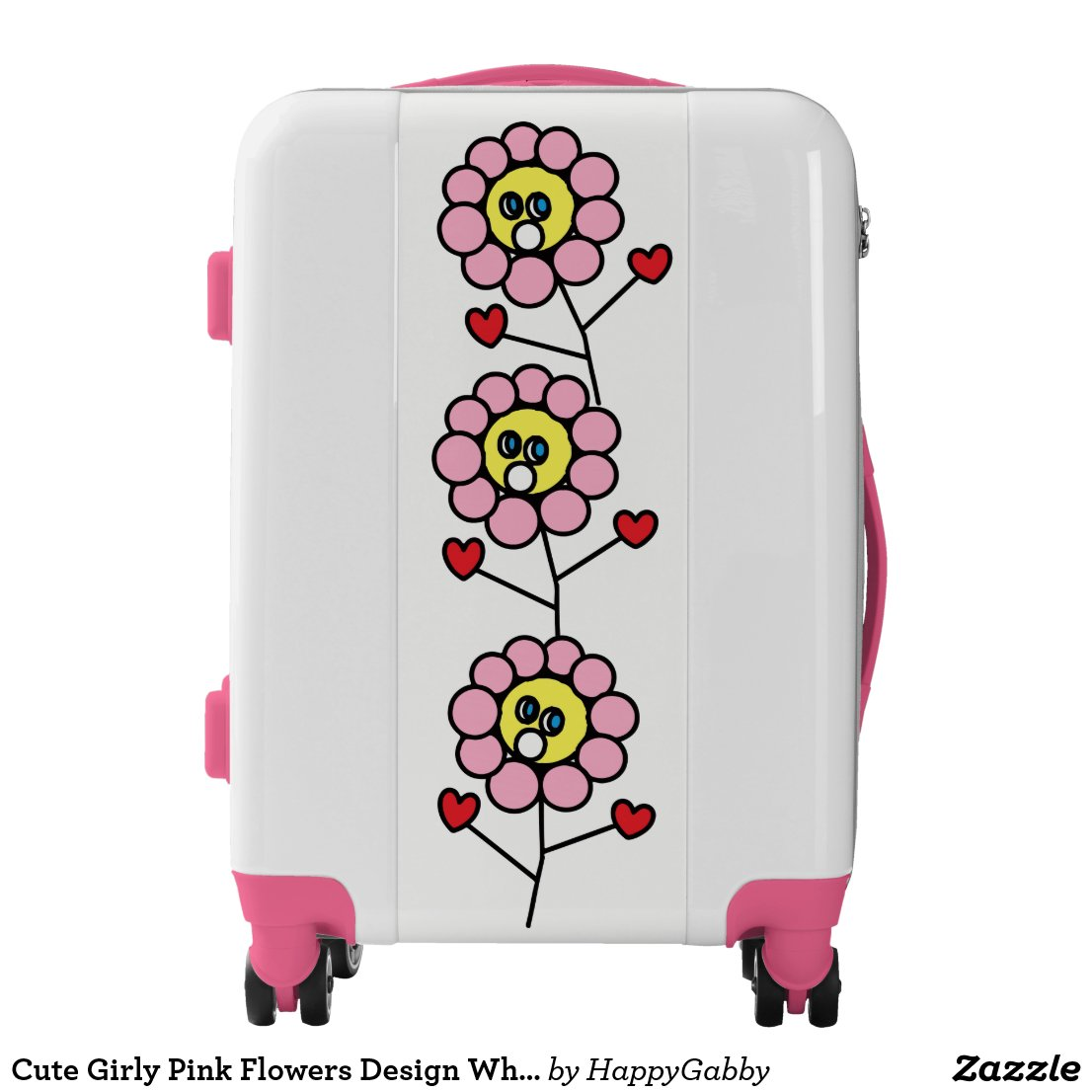 Pink Flowers Design White Pink Suitcase