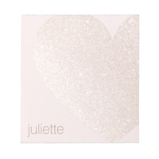 Cute Girly Pink Glitter Heart Personalized Name Notepad