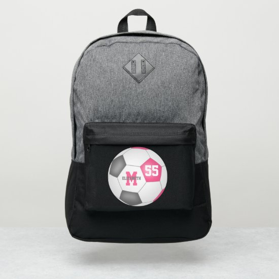 cute girly pink gray soccer ball personalized port authority® backpack