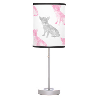 Cute girly pink gray watercolor chihuahua pattern table lamp