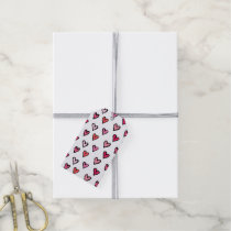 Cute Girly Pink Hand Drawn Hearts on White Pattern Gift Tags