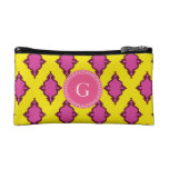 Cute girly pink ikat tribal pattern monogram cosmetics bags