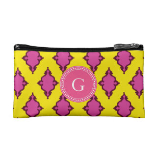 Cute girly pink ikat tribal pattern monogram cosmetic bags