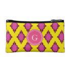 Cute girly pink ikat tribal pattern monogram cosmetic bag