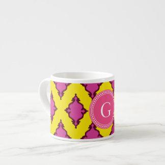 Cute girly pink ikat tribal pattern monogram espresso cup