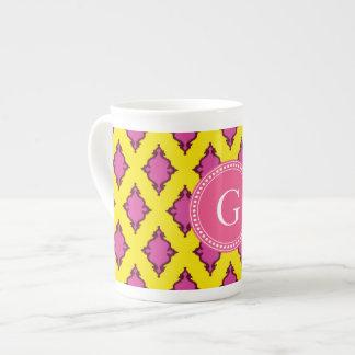 Cute girly pink ikat tribal pattern monogram tea cup