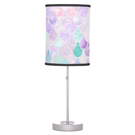 Cute, Girly, Pink, Mermaid Pattern, Ombre, Lamp