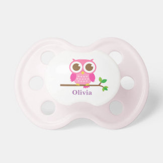 Cute Girly Pink Owl For Baby Girls Pacifier