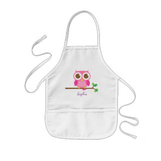 Cute Girly Pink Owl For Girls Aprons
