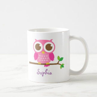Cute Girly Pink Owl For Girls Coffee Mug