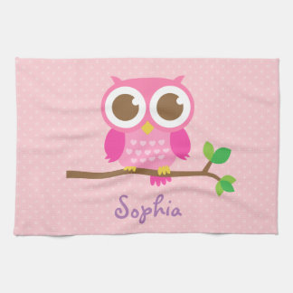 Cute Girly Pink Owl For Girls Kitchen Towel