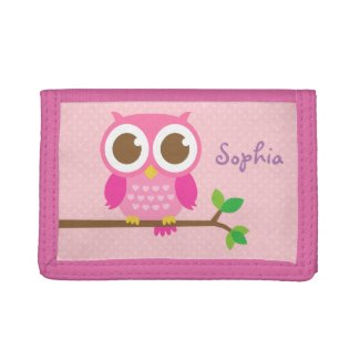 Cute Girly Pink Owl For Girls Tri-fold Wallet