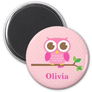 Cute Girly Pink Owl on Branch For Girls 2 Inch Round Magnet
