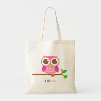Cute Girly Pink Owl on Branch For Girls Budget Tote Bag