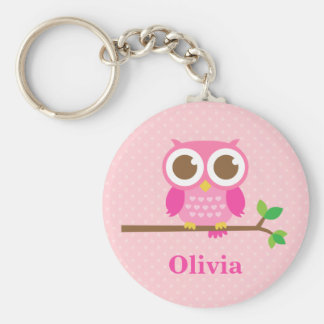 Cute Girly Pink Owl on Branch For Girls Keychain
