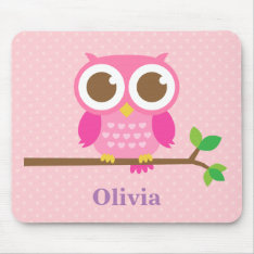 Cute Girly Pink Owl On Branch For Girls Mouse Pad at Zazzle