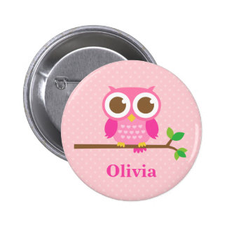 Cute Girly Pink Owl on Branch For Girls Pinback Button