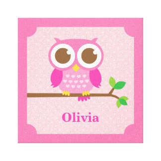 Cute Girly Pink Owl on Branch Girls Room Decor Canvas Print