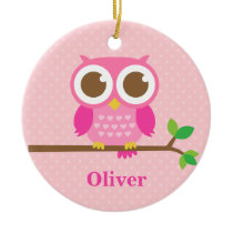 Cute Girly Pink Owl on Branch Girls Room Decor Ceramic Ornament