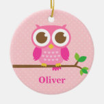 Cute Girly Pink Owl on Branch Girls Room Decor Double-Sided Ceramic Round Christmas Ornament