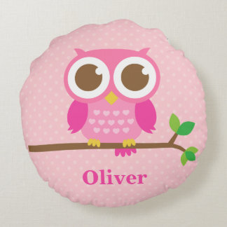 Cute Girly Pink Owl on Branch Girls Room Decor Round Pillow