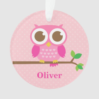 Cute Girly Pink Owl on Branch Girls Room Decor Ornament