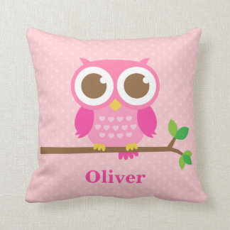 Cute Girly Pink Owl on Branch Girls Room Decor Pillow