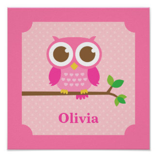 Cute Girly Pink Owl on Branch Girls Room Decor Poster