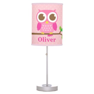 RustyDoodle Cute Girly Pink Owl on Branch Girls Room Decor Table Lamp
