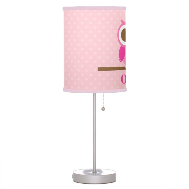 Cute Girly Pink Owl On Branch Girls Room Decor Table Lamp | Zazzle.com