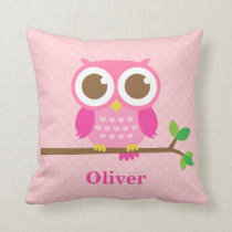 Cute Girly Pink Owl on Branch Girls Room Decor Throw Pillow