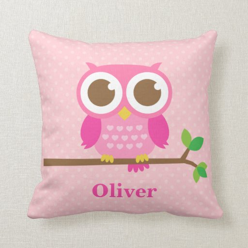 Cute Pillows For Your Room : Cute Girly Pink Owl on Branch Girls Room Decor Throw Pillows Zazzle