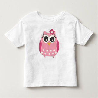 Cute Girly Pink Owl with Flower Bow Toddler T-shirt
