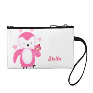 Cute Girly Pink Penguin Coin Purses
