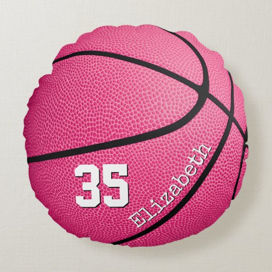 cute girly pink personalized basketball round pillow